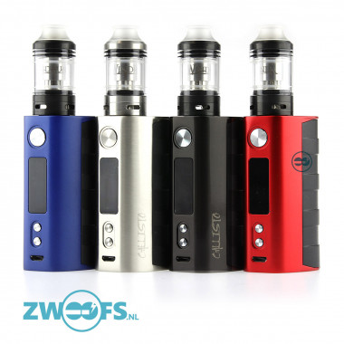 Een compacte combinatie van de 80watt Callisto box mod met ergonomisch design en de 2ml. Wind Runner sub-ohm Clearomizer.
