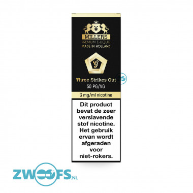 Millers Three Strikes Out E-Liquid is in verschillende nicotinegehaltes verkrijgbaar